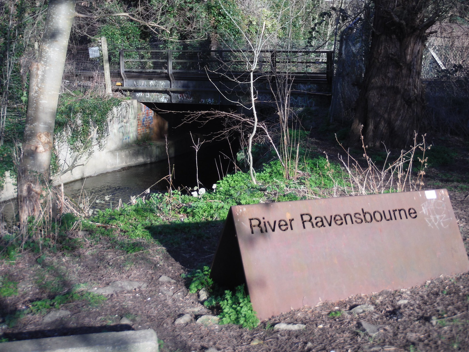 The River Ravensbourne joins from the right, Catford SWC Short Walk 36 - Waterlink Way (Lower Sydenham to Greenwich)