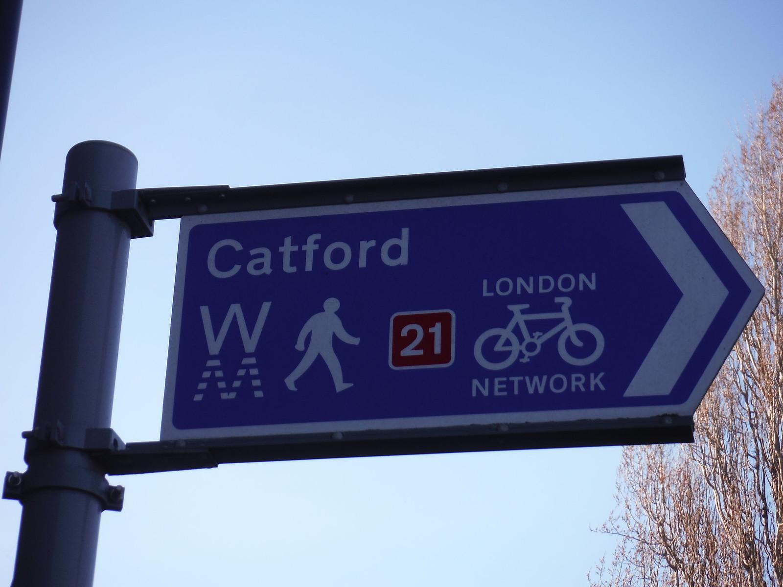 WW signpost by Lower Sydenham Station SWC Short Walk 36 - Waterlink Way (Lower Sydenham to Greenwich)