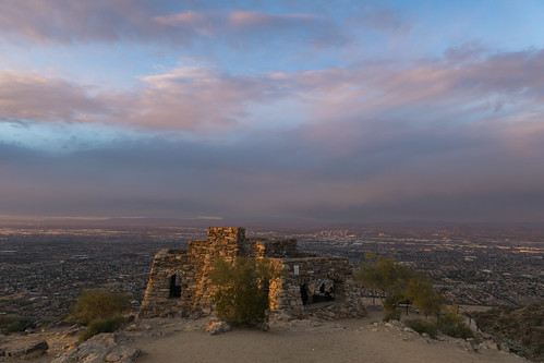 arizona dobbins lookout phoenix metro sunset people crowds humans color nature city life drive cars road bench clouds storm