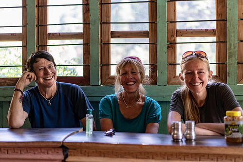 Steffi, Anne and Mary.  Tea House Lunch stop.  Nyak Phedi.  On trail to Dyang | by charlesng88
