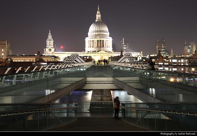 St. Paul's Cathedral seen from Millenium Bridge, London, UK