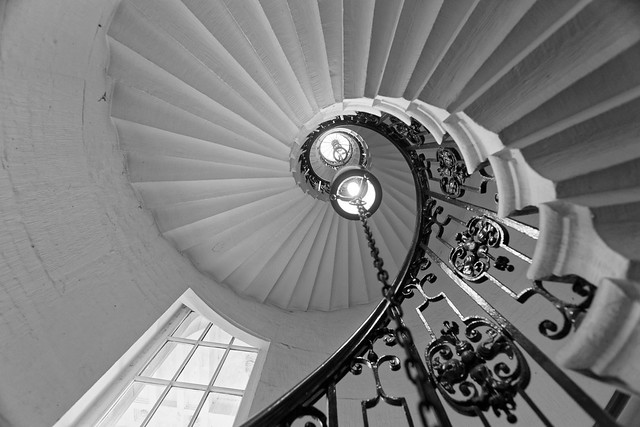Spiral staircase inside Old Royal Naval College, Greenwich