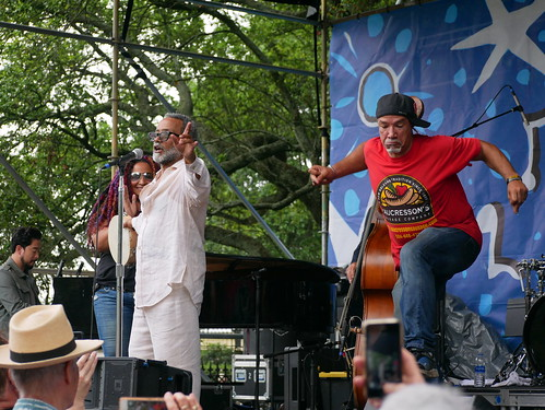 John Boutte with Arsene DeLay and Vance Vaucresson on Day 2 of French Quarter Fest - 4.12.19. Photo by Louis Crispino.