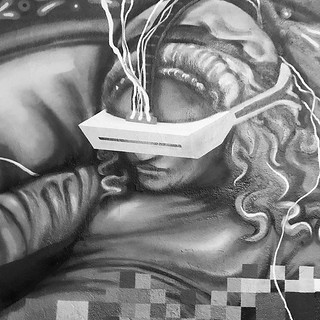 This mural shows a terrifying future. If you're worried people spend too much time on their phones wait until everyone has access to a VR device. | by Alma Ayon