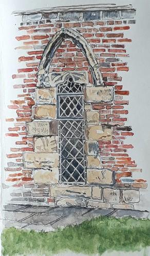 A re-set window at the Merchant Adventurers Hall, York