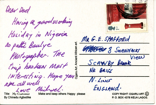 postcards from mgs worldwide travels geoff jean spafford rip lagos nigeria make keep others happy please 30 oct 2002