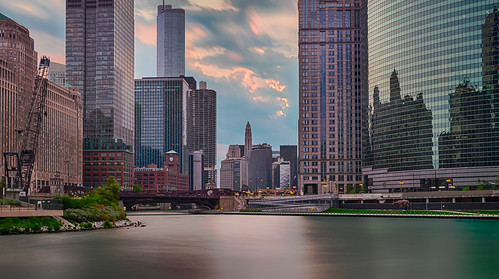 chicago chicagoriver chicagoriverwalk hdr illinois nikon nikond5300 architecture city clouds geotagged longexposure morning river sky skyscraper skyscrapers sunrise water