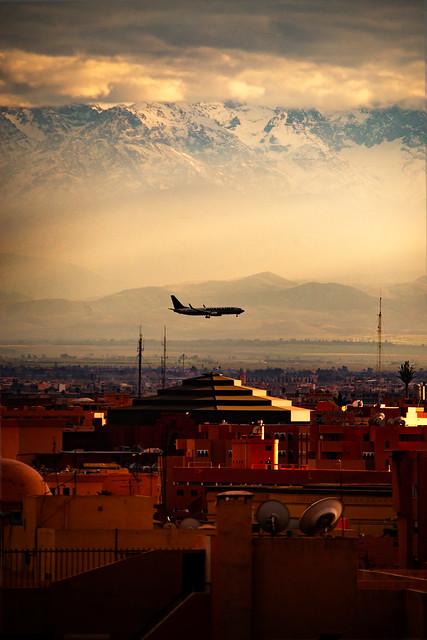 Plane over Marrakech