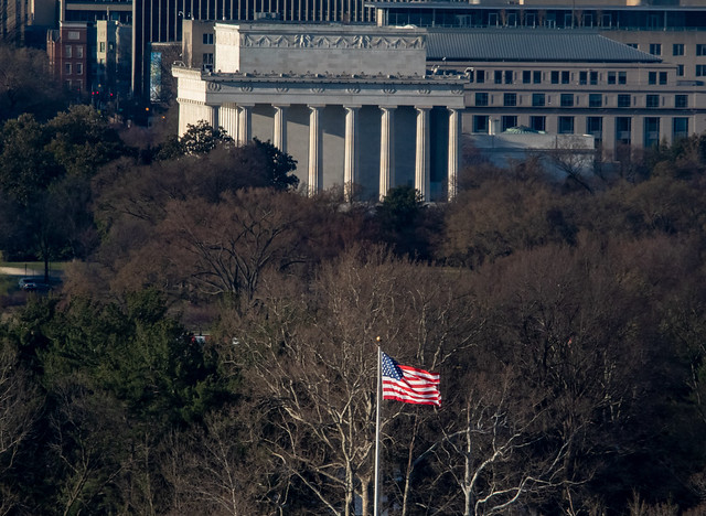 Lincoln Memorial with American Flag