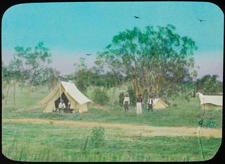 Men standing around in a surveyors camp, Queensland, ca. 1910