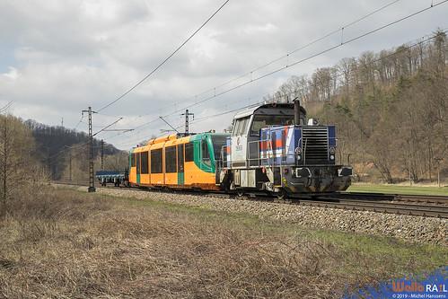709 401 CZL + 654 004 GW Train ( ex-Rurtalbahn) . Brandýs nad Orlicí . 27.03.19 .