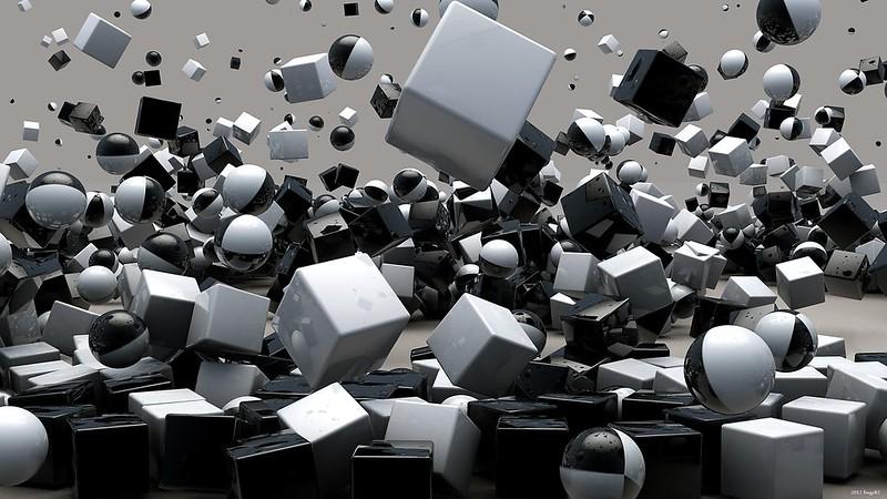 Обои кубы, кубики, шары, полет, взрыв картинки на рабочий стол, фото скачать бесплатно