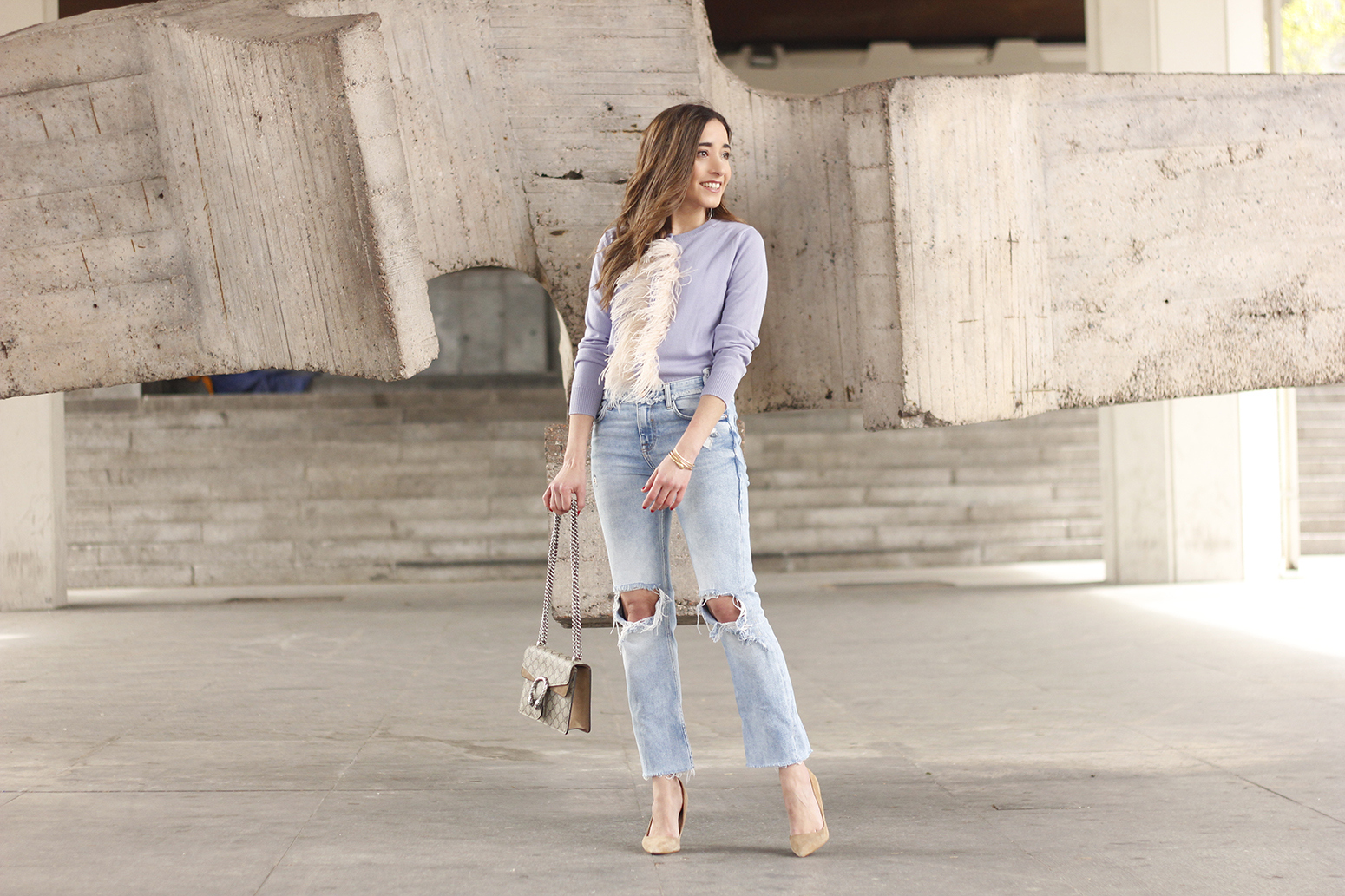 lavender sweater ripped jeans gucci bag nude heels casual street style casual outfit 20195