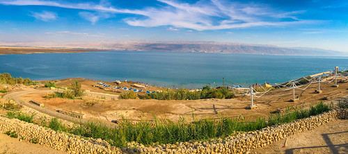 kalya westbank palestine ps panoramic view beach along dead sea west bank israel il middleeast middle east deadsea meer pano panorama vista lake jordan river