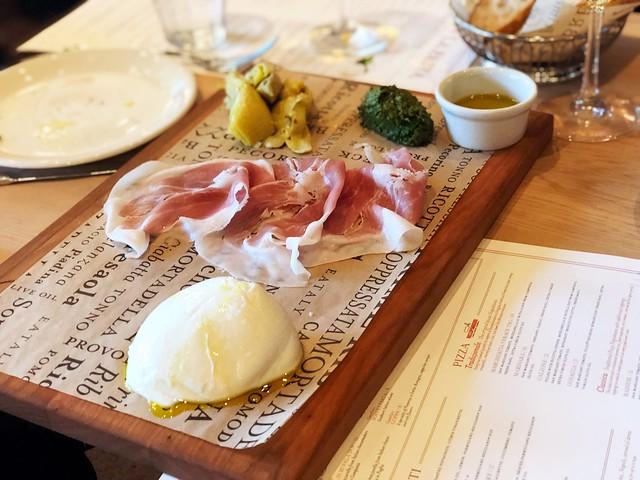 Mozzarella, Prosciutto di Parma, artichokes and basil pesto