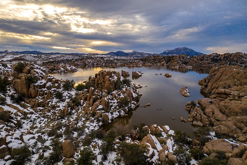 aerial arizona dells drone lake prescott rocks snow snowing water watsonlake winter winterstorm