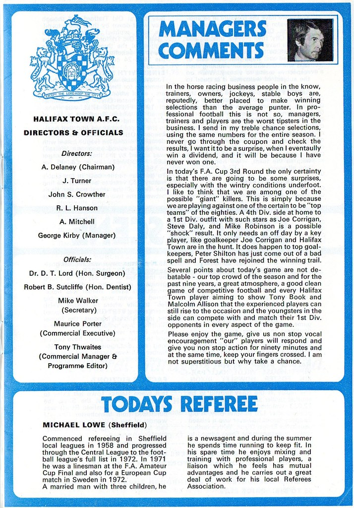 (Programme) 05-01-1980 Halifax Town 1-0 Manchester City (FAC) 3