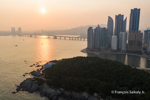 부산 해운대 busan haeundae beach south korea drone mavic pro 2 shot sunset skyscrapers bridge traffic