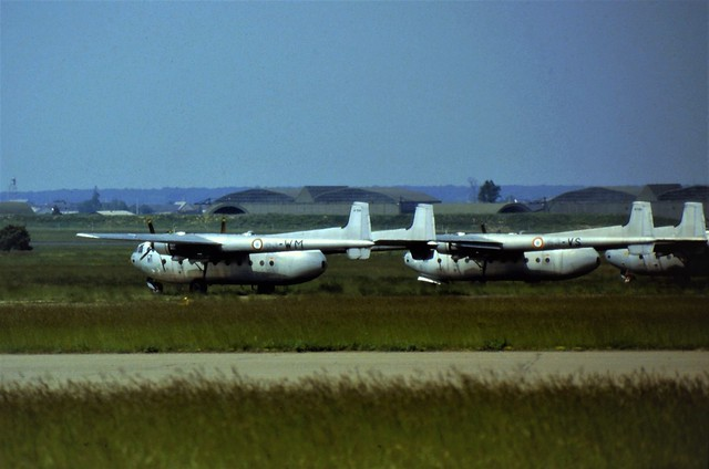 Stored Nord N-2501F Noratlas aircraft 199/63-WM and 135/63-VS. Both ex ET-63, French Air Force/ Armee de 'l Air. Chateaudun Air Base (France) 1 June 1985.
