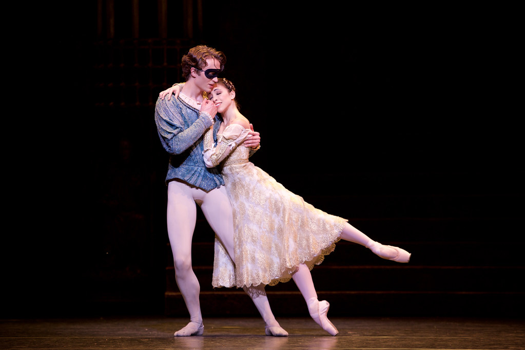 Matthew Ball as Romeo and Yasmine Naghdi as Juliet in  Romeo and Juliet, The Royal Ballet © 2015 ROH. Photograph by Alice Pennefather