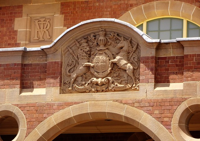 Parkes. Carved detail in stone on the facade of the 1896 built Parkes Courthouse. Architect was Walter Vernon.