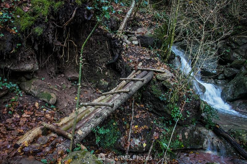 Pasarela de troncos hacia el Camí de les Escales del Salt de Sallent
