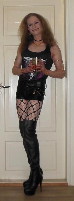 Partytime!  #smile #happygirl #feelingpretty #posing #drinking #drinkingtgirl #tgif #partytime #drink # cocktail #vodkaredbull #hotpants #shorts #shortshorts #pantyhose #tights #glossytights #fishnets #layered #layeredtights #layerednylon #boots #highheel