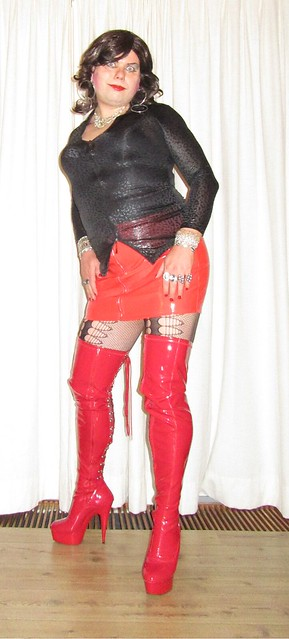 red boots and skirt the front view