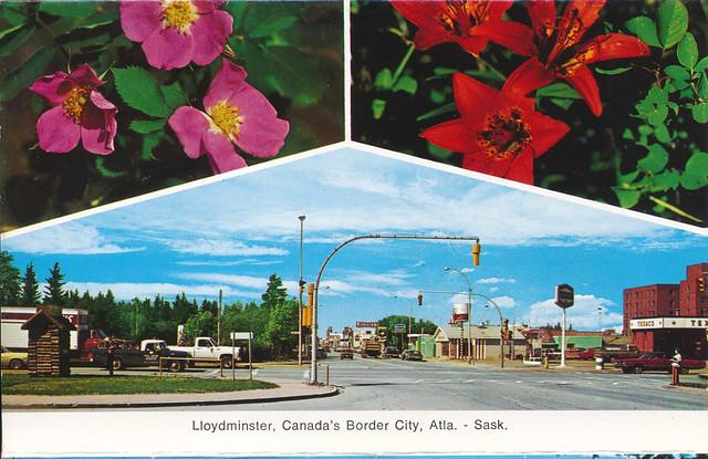 IMG_0054 Lloydminster Canada's Border City Atla. Regina Saskatchewan Canada. Postcards from MGS Worldwide travels to Geoff and Jean Spafford c1983