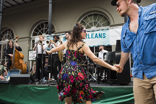 Julia Lang and Dan Wally dance to Taylor Smith and the Roamin' Jasmine duringFrench Quarter Fest day 3 on April 13, 2019. Photo by Ryan Hodgson-Rigsbee RHRphoto.com