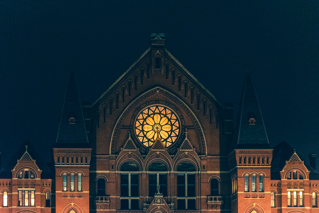 Cincinnati Music Hall at night, top of the building.