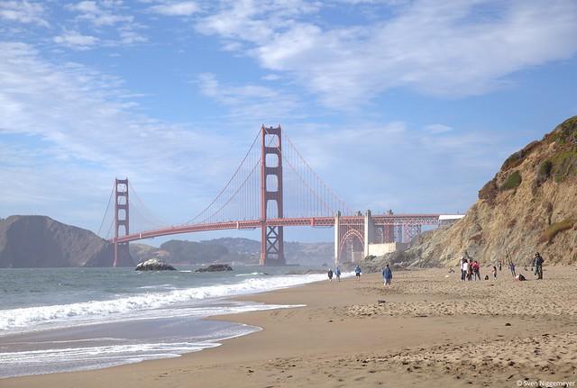 Golden Gate Bridge von der Baker Beach aus fotografiert am 6.07.18
