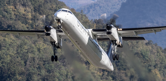 LUG/LSZA: Star Alliance (Swiss wet lease - Austrian Airlines) Bombardier DHC-8-402 Q400 OE-LGO