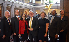 Rep. Lavielle (R-Wilton, Norwalk, New Canaan) with Wilton residents after testifying in support of the Fairfield Five bill, H.B. 6158, which she co-introduced.