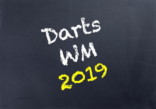 Darts WM 2019 written on blackboard