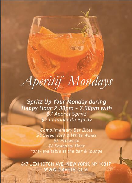 Davio's Apertif Mondays flyer