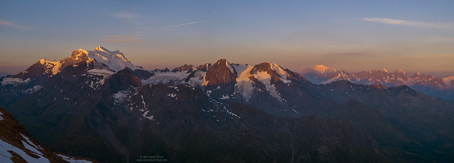 Early morning panorama with Grand Combin and Montblanc