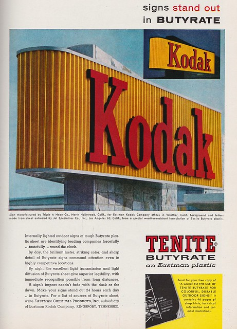 Plastic Kodak Sign for Eastman Kodak Company Headquarters - Whittier, Calif. - Sign by Triple A Neon - circa 1961