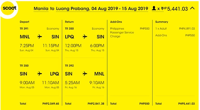 Scoot Airlines Manila to Luang Prabang Roundtrip Promo