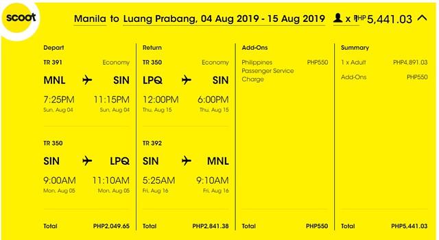 Scoot Airlines Manila to Luang Prabang Roundtrip Promo