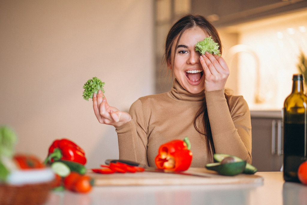 Women cooking healthy food