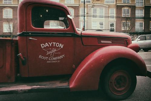 pickuptruck dayton daytonbootcompany redtruck eastvillage hastingssunrise hastingsstreet vancouver