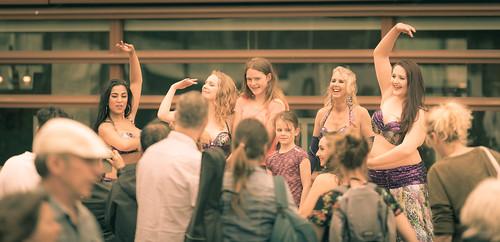 Fans on stage.   by Alex-de-Haas
