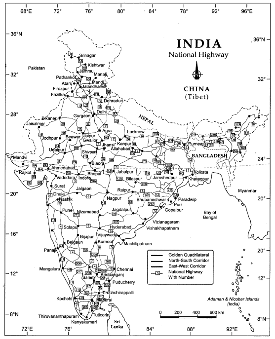 Class 10 Geography Map Work Chapter 7 Lifelines of National Economy 2