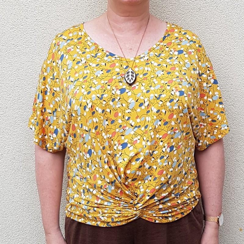 Designer Stitch Gemma twist front top in poly knit from Spotlight