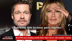 Brad Pitt seen standing outside hotel where Ex wife Jennifer was celebrating 50th birthday