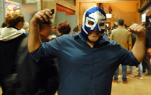 Fan with a Luchas Libres mask at the Arena in Mexico City where the fights between these masked wrestlers take place