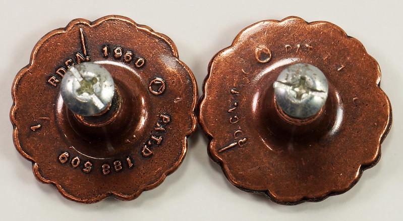 RD27361 8 Mid Century Copper Knobs Cabinet Drawer Pulls Handles Rosette Round 1960 RD. CA. DSC09638