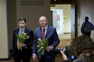 Russian Delegates Offer Journalists Flowers on International Women's day. | by United Nations Photo