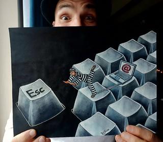 Computer overdose... original illustration (ink and watercolor painting on paper) I made in 2009.  ------- Overdose d'ordi... illustration originale. (dessin à l'aquarelle et encre sur papier) fait en 2009. ------- #art #originalart #artwork #painting #ar   by Ben Heine